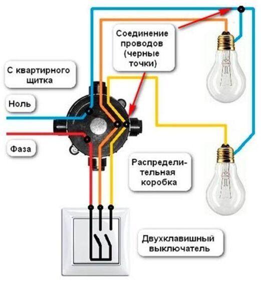 shemсхема двухклавишного выключателя на две лампочкиa-dvuhklavishnogo-vyklyuchatelya-na-dve-lampochki