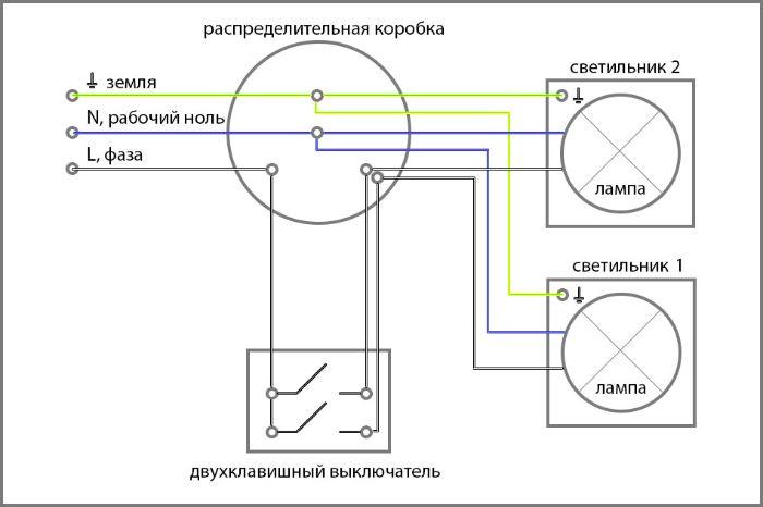 shema-podklсхема подключения двойного выключателя на 2 лампочкиyucheniya-dvoynogo-vyklyuchatelya-na-2-lampochki