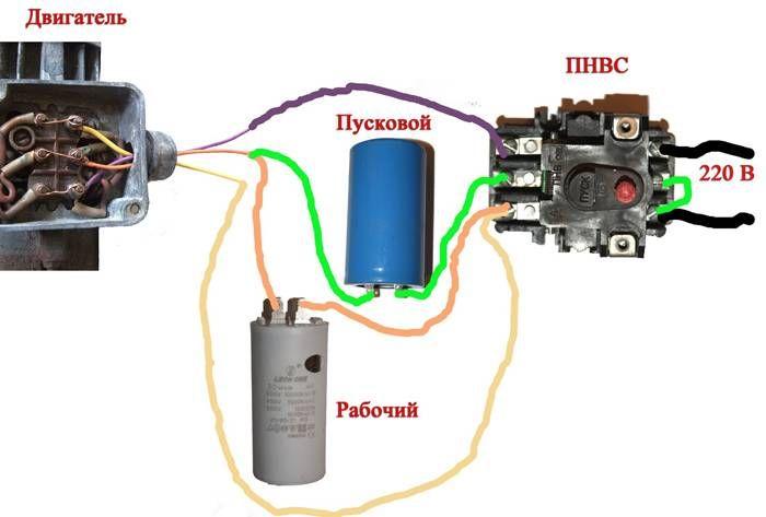 подключение асинхронного двигателя на 220